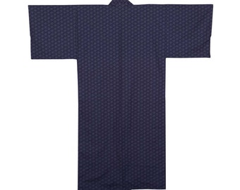 Asanoha Nemaki Lined Kimono, Navy