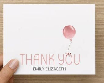 Baby Girl thank you card:Personally designed thank you with balloon and name