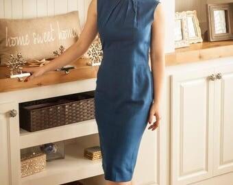 Classy Blue Vintage Party Dress