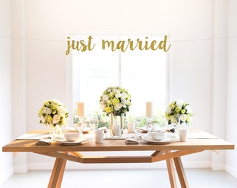 JUST MARRIED banner, gold, wedding, party decor, sign, photo backdrop, custom glitter banner