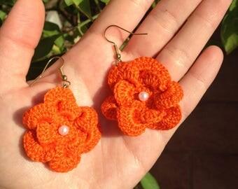 Flower Earrings//crochet//gifts for her custom//handmade