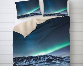 Aurora Borealis Duvet Covers, Iceland Bedding, Northern Lights Art, Blue Duvet Cover, Unique Duvet Covers, Picture Duvet Cover