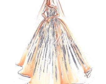Bridal portrait, Fashion illustration, Bridal sketch, Bride portrait, Bridal art print, Gift for bride, Bride painting, Bridal art