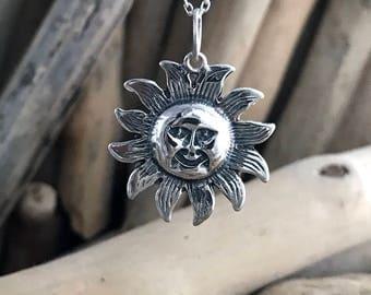 Sterling Silver Sun Pendant Necklace, Tiny Necklace, Sun Necklace, Sun Charm, Silver Necklace, Sun Pendant SKY047