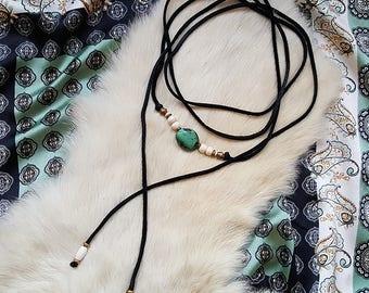 Turquoise Stone Beaded Leather Wrap Choker - Long Leather Layering Necklace - Statement Stone & Bone Necklace - Handmade Bohemian Jewelry