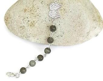 Sterling silver angel wing bracelet, labradorite bracelet, silver angel wing bracelet, angel wing bracelet, celestial jewellery, labradorite