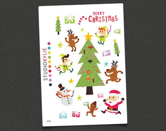 Fun Christmas Stickers  - Planner Stickers - Repositionable Matte Vinyl - Suits All Planners