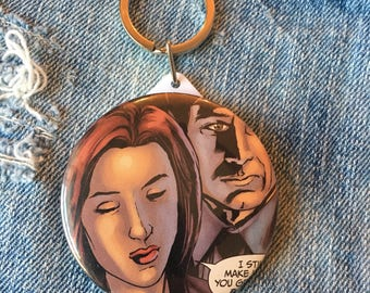 X-Files Keychain, X-Files Comic Book button mirror keychain, pocket mirror, 58mm keychain