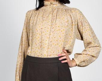 Vintage 70s Floral Print Button Down Collared Shirt Peasant Sleeve Liz Claiborne Blouse Top