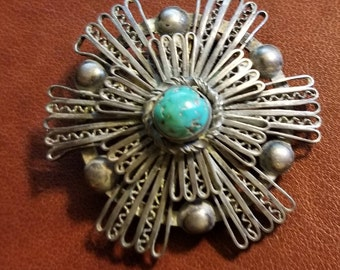 Sterling Vintage Turquoise Brooch