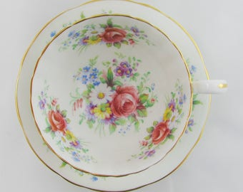 Aynsley Oban White Tea Cup and Saucer with Colorful Flowers