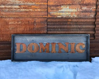 Rustic Wood Sign,  Last Name Sign, Wood Family Name plaque, Farmhouse Name Sign, Fixer Upper Style, Metal letter sign, Wedding Decor, Custom