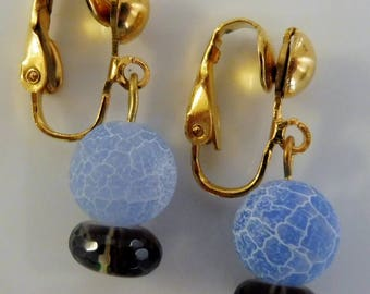 Clip On earrings-blue earrings-gemstone earrings-semiprecious earrings-gold plated-handcrafted-one-off-fire agate