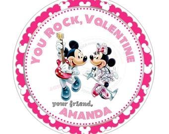 "Mickey & Minnie Valentine 2.5"" Printable Tags-Happy Vallentine's Day Custom Tags-Stickers, DIY (You Print) 2.5"" tags-Rock Valentine"