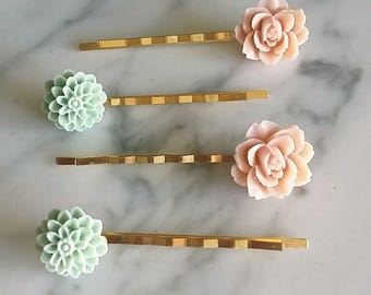 Floral gold hair pins set of 4 in pink & sea green for bridal prom everyday