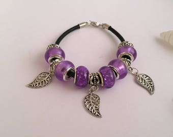 Bracelet charm's Purple Leather with ref 633 leaf charms