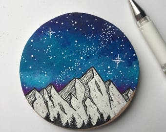 Galaxy Painting, Galaxy Art, Mountain Painting, Wood Slice Painting, Galaxy Wood Painting, Space Painting, Nature Art, Wood Panel Art, Dream
