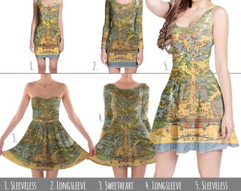 Disneyland Vintage Map - Dress in XS-3XL - Flared, Bodycon, or Skater Style 000752