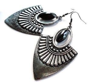 Silver Earrings Gemstone Jewelry Gypsy Earrings Hematite Jewelry Tribal Earrings Ethnic Jewelry Boho Earrings Black Jewelry Large Earrings