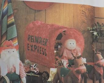 Reindeer Express Covered Wagon Santa Reindeer Dolls Toys Simplicity 8761 Craft Pattern
