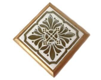 Vintage Tile Trivet with Wooden Frame and Green White Design