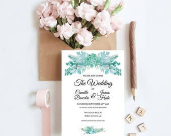 Frosted Succulents Wedding Invitation