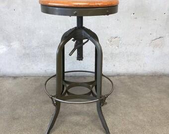 Antique Industrial Toledo Reproduction Bar Stool Pub Or