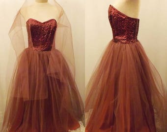 50's Vintage Strapless Satin Swing Party Dress Tulle Mesh Size 6