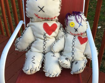 Giant Voodoo Doll Whimsical Pillow Humorous Primitive Doll Hand Stitched Doll White Magic Handmade Fabric Hex Doll Rag Worry Doll Not a toy
