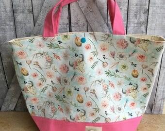 Knitting Project Bag Spring Boho, Boho Style Sweater Size Knitting Bag,Crochet Project Bag,Louisa bag,yarn keeper,knitting project bag