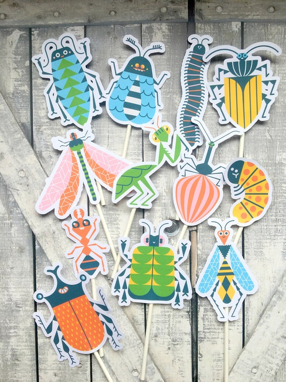 Cupcake Toppers - Colorful Bugs,Insect Party,Colorful Bugs Cake Toppers,Birthday Party Decorations,Bug Party,Bug Birthday Party,Boy Birthday
