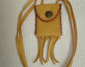 Beaded deerhide amulet  pouch with Mercury button