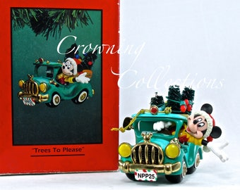 Enesco Trees to Please Mickey Mouse Treasury of Christmas Ornament Disney Mickey in Truck Delivering Christmas Tree Vintage Car