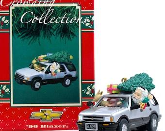 Enesco '96 Chevy Blazer Treasury of Christmas Ornament 1996 Santa SUV Christmas Tree Dog Chevrolet Santa Driving Jeep Vintage HTF Car