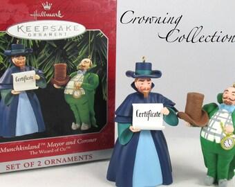 1997 Hallmark Munchkinland Mayor and Coroner Ornament The Wizard of Oz Set 2 & WOZ Vintage Keepsake Christmas Collection Munchkins