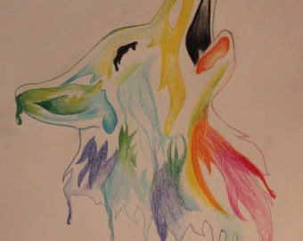 Colorful Wolf Original Drawing, Can Be Drawn to Order