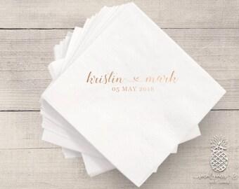 Bride and Groom Wedding Napkins | Personalized Napkin | Monogram Napkins | Bridal Napkins | Custom Foil Napkins | Metallic Foil Napkins