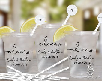 Wedding Cheers Cups   Customizable Disposable Soft Plastic Cups   Weddings, Engagement Bridal Parties or Shower   social graces and Co