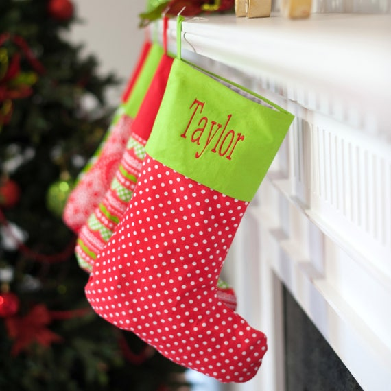 Monogrammed Christmas Stocking Red Dot Stocking Christmas Decor Red and Green Holiday Home Decor Christmas Collection Monogrammed Gifts