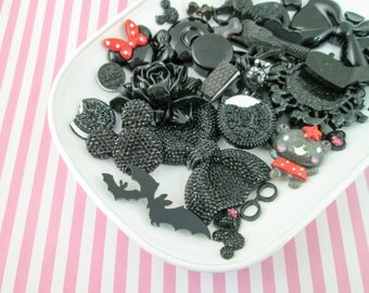 Black Assorted Cabochons Mix #992