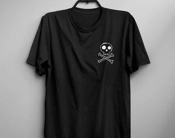 Skull and crossbones T shirt grunge goth clothing gift women graphic tee halloween skeleton shirts cute shirt