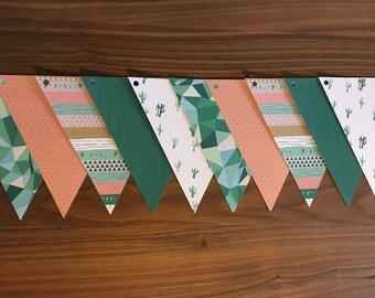 Pink White Green geometric cactus paper Garland