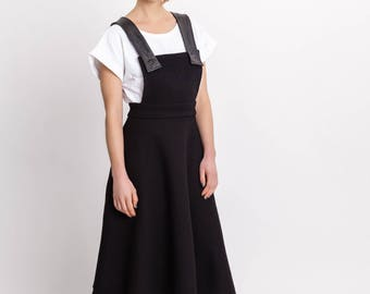 Women's black pinafore skirt / Elegant midi dungarees skirt / Leather detail designer skirt / Wool midi skirt / Fasada 18015