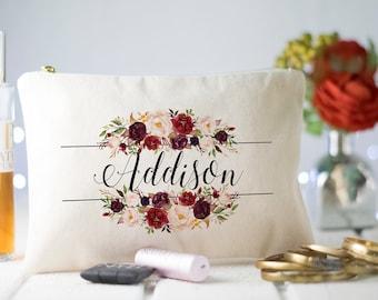 Floral Bridesmaid Makeup bag, Monogram Cosmetic Bag, Monogram Makeup Bag, Marsala Makeup Bag, Floral Initial Bridesmaid Makeup Bag, Makeup