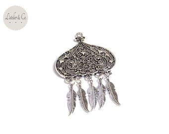 Pendant suspension 79x49mm silver feather Bohemian Native American Indian * pf4 018 *.