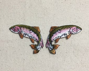 Natural Fish - Rainbow Trout - Facing Left or Right - Iron on Applique - Embroidered Patch - 696816