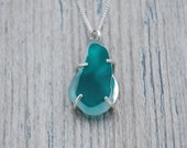 Rare Multi Teal and White Maine Sea Glass Necklace in Sterling Silver