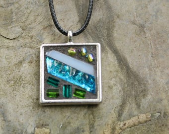 Mosaic Pendant, Stained Glass, Glass beads, Abstract Mosaic Necklace, Gifts under 40.00, Gifts for Her