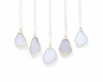 Gold Druzy Necklace, Boho Stone Necklace, Delicate Dainty Necklace, Natural Druzy Slice Necklace, Gold Filled Necklace, Sparkly Necklace