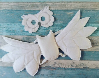 Owl Mask and Wings Set - Felt Woodland Owl Mask - Felt Owl Wings - Felt Owl Costume - Party Favor - Halloween Mask Costume - Party Gift